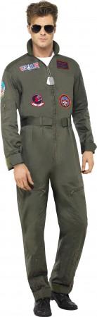 Retro Men Aviator Pilot Costume Top Gun 1980s 80s Military Costume