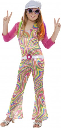 Girls Hippy Costume Childs 60s 70s Groovy Glam Fancy Dress