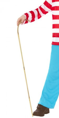 Accessories - Bamboo Walking Cane Where's Waldo Wheres Wally Costume Prop Accessory Licensed Cartoon Costume Book Week Accessory