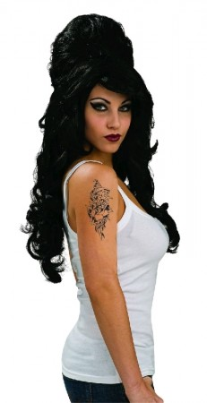 Ladies Amy Winehouse Rehab Fancy Dress 60s Costume Adult Wig
