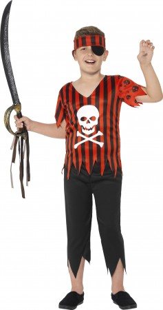 Jolly Roger Pirate Boys Costume Caribbean Buccaneer