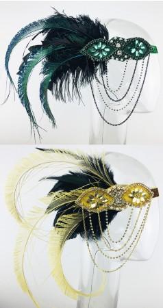 Ladies 1920s Feather Headdress Fancy Dress lx0268