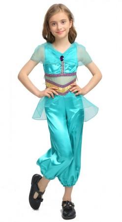 Girls Arabian Genie Aladdin Arab Jasmine Princess Costume Belly Dancer Childrens Kids Book Week Fancy Dress Costume