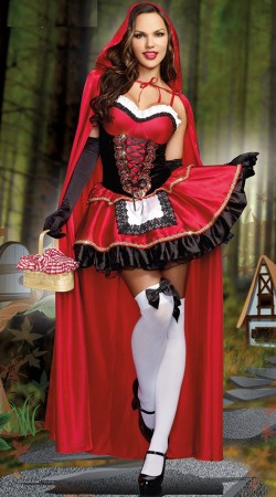 Fairytale Storybook Costumes - Ladies Little Red Riding Hood Costume Fancy Dress Halloween Storybook Outfit
