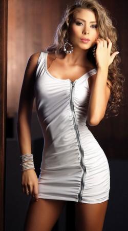 White zipper mini dress