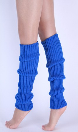 Blue Womens Pair of Party Legwarmers Knitted Dance 80s Costume Leg Warmers