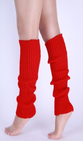 Red Womens Pair of Party Legwarmers Knitted Dance 80s Costume Leg Warmers