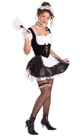 Secret Wishes French Maid Adult Costume Chamber Fancy Dress Outfit
