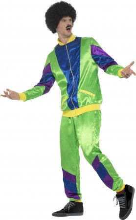 Mens 80s Height Of Fashion Green Shell Suit Tracksuit 1980s Fancy Dress Costume