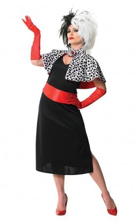 Womens Evil Madame Cruella De Ville 101 Dalmations Fancy Dress Costume + Cigarette Holder + Wigs