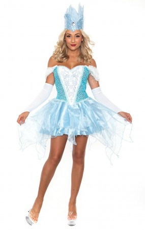 Fairytale Storybook Costumes - Ladies Frozen Princess Fairytale Snow Queen Gown Fancy Dress Costume