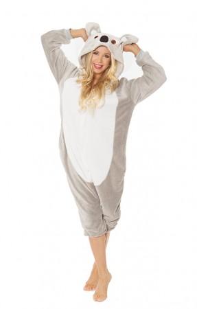 Onesies & Animal Costumes Australia - Gray Koala with back zip Onesie Animal Adult Costume