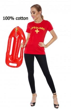 Ladies 80s Beach Lifeguard Uniform Red T-shirt Fancy Dress