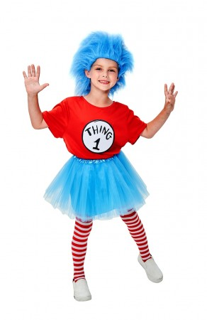 Kids Dr Seuss Thing 1 and Thing 2 Costume + Wig + TuTu + Pantyhose
