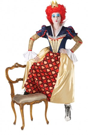 Alice In Wonderland Costumes - Licensed Disney Red Queen Of Hearts Crown Wig Alice in Wonderland Disney Party Fancy Dress Costume Ladies
