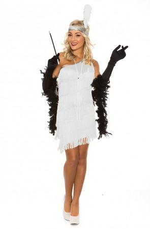 Ladies 1920s Flapper Fancy Dress Costume White