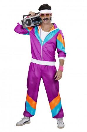 Purple Mens 80s Tracksuit Shell Suit Costume lh237purple
