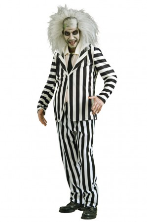Mens Mr Beetlejuice Outfit Fancy Dress Party Dress Halloween Licensed Costume