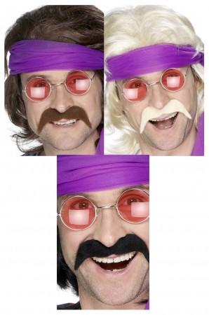 Black Brown Gold Seventies Tash 70s Handlebar Moustache Mexican Cop