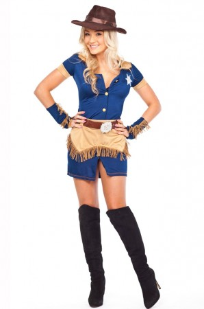 Ladies Cowgirl Sheriff Fancy Dress Costume