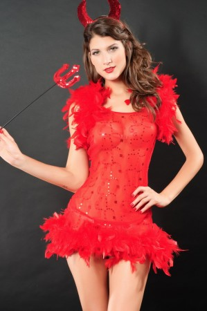 Devil Costumes - Ladies Medieval Evil Devil Demon Fancy Dress Hen Party Outfit Halloween Costume