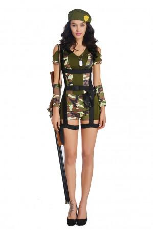 Ladies Army Girl Military Uniform Top Gun Flight Soldier Costume FBI Fancy Dress