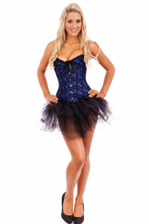 Corsets Bustiers - Moulin Rouge Fancy Dress Blue Corset Costume
