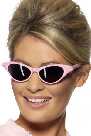 Flyaway Style Rock and Roll Pink Lady Sunglasses 1950s 50s Fancy Dress Accessory