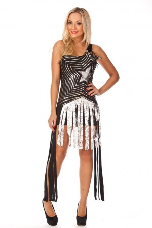 Ladies Super Star Dancing Fancy Dress Costume