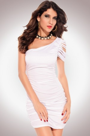 One-shoulder Pleated Dress with Ripped Sleeve