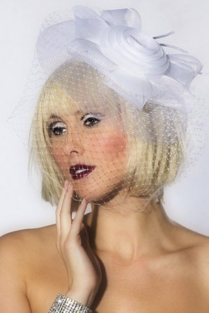 Hat - White Mini Top Hat with flower Burlesque Fascinator