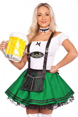 Girls Oktoberfest Beer Maid Green Costume lg204green
