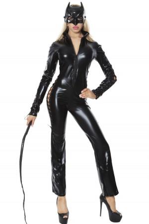 Bunny & Cat Costumes - Catwoman Cat Woman Costume Ladies Supergirl Superhero & Villain Fancy Dress