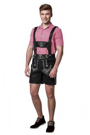 Mens Black Lederhosen PU Leather Costume  lg9005