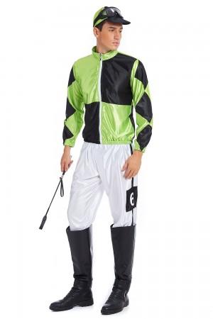 Green Black Jockey Horse Racing Rider Mens Uniform Fancy Dress Costume