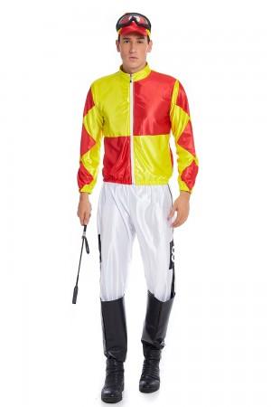 Yellow Red Jockey Horse Racing Rider Mens Uniform Fancy Dress Costume
