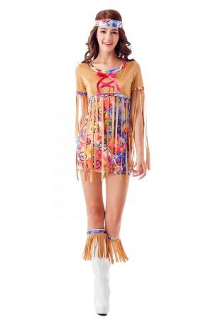 Ladies 60s 70s Disco Retro Groovy Hippie Go Go Girl Costume