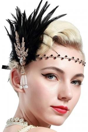 1920s Feather Vintage Bridal Great Gatsby Flapper Headpiece