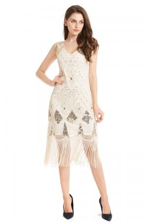 beige gatsby themed dress lx1031_1