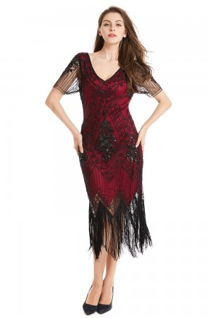 1920s Flapper Dress Charleston Womens Costume Ladies Fancy Dress Outfit Gangster