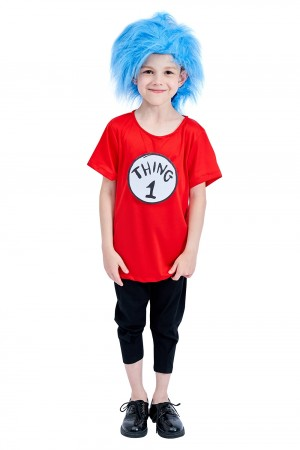 Kids Dr Seuss Thing 1 Thing 2 Costume + Wig