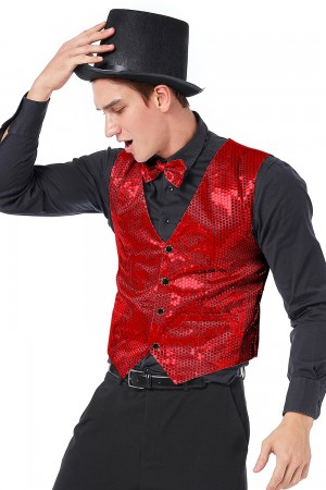 Unisex Red Sequin Vest Waistcoat 80s Disco Dance Costume