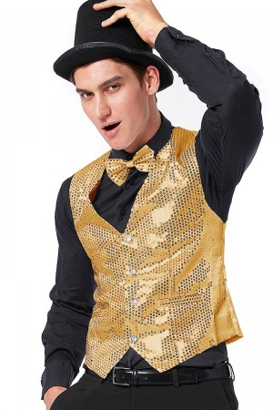 Unisex Gold Sequin Vest Waistcoat 80s Disco Dance Party Show Costume