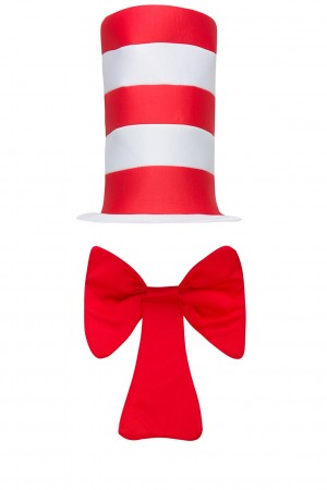 Adult Dr Seuss Stripe Cat in the Hat Bow Tie Gloves