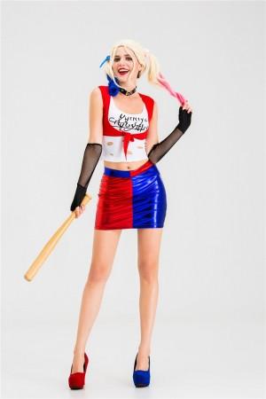 Supervillain Harley Quinn Harlequin Suicide Squad Costume frontview tt3127