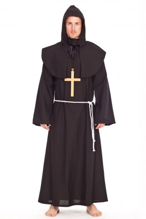 Monk Costumes - Mens Std Monk Party Fancy Dress Costume Religious Friar Tuck Saints Gents