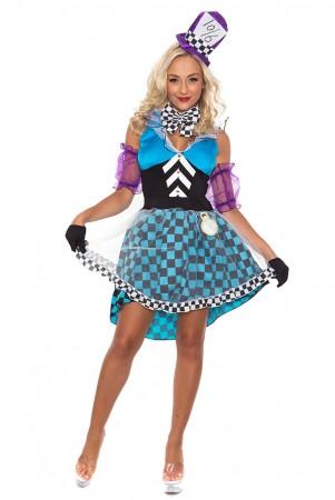 Alice In Wonderland Costumes - Ladies Mad Hatter Tea Party Alice in Wonderland Fancy Dress Costume