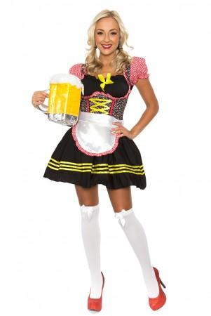 Oktoberfest Costumes - Ladies Beer Maid Oktoberfest Wench German Heidi Fancy Dress Bavarian Costume