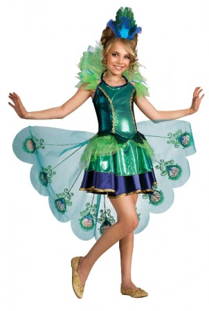 Peacock Girls Costume Child Animal Bird Halloween Book Week Party Outfit Showgirl Kids