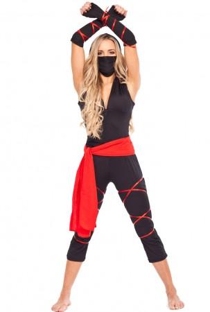 Ladies Ninja Fancy Dress Costume